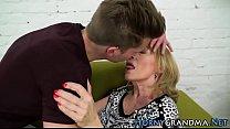 Grandma blows for facial