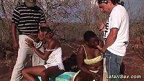 extreme hot outdoor african safari orgy thumbnail