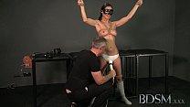 BDSM XXX Bondage Master brings his cute asian sub girl to a long intense orgasm