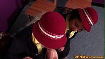 CFNM schoolgirls giving blowjob