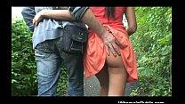 Brunette gets cock in public place