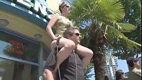 Cruel Mistress riding ponyboy in public