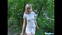 Gorgeous blonde model strips by the lake Thumbnail