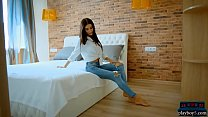 Skinny Russian teen beauty strips out of her jeans