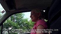 Image: Blonde teen hitchhiker bangs in car
