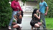 Pregnant girl risky PUBLIC street swinger orgy gangbang