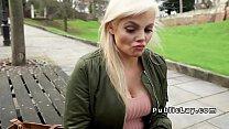 Busty British hottie bangs in public thumbnail