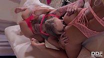 Busty goddess Kayla Green indulges in Christina Shine's sexy feet & toes thumbnail