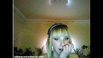 Tiny blonde teen dance on webcam