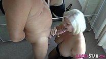 Granny rides and tit fucks big dick Thumbnail