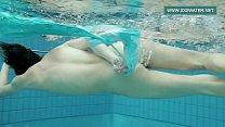 Podvodkova swimming in blue bikini in the pool pornhub video