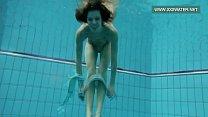 Podvodkova swimming in blue bikini in the pool Image