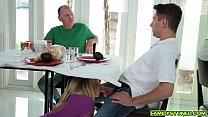 Kagney Linn Karter rides Brads big cock on top thumbnail