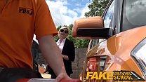 Fake Driving School Posh busty blonde examiner fucks and swallows in POV thumbnail
