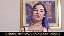CASTING FRANCAIS - Tattooed newbie Mylee Cruz rides dick and eats cum