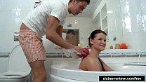 Tiny titted teen Anoushka fuck in bathtub
