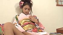 Charming Japanese babe Iori Miduki toys her hai...
