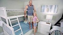 Petite teen bangs in room with bunk beds