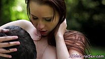 Adorable babe pussyfucked outdoors by bf