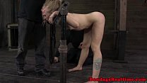 Blonde sub restrained in stocks