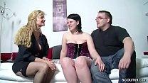 Echtes Deutsches Junges Paar beim Casting mit einer MILF