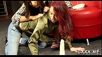 Beautiful lesbian engages in some hot giving a kiss and sex-toy play