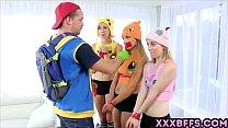 Pokemon Go XXX parody with three awesome teen c...
