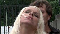 Blonde public disgraced in wet blouse Vorschaubild