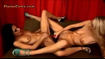 Two Petite Lesbians Double Fuck A Dildo1