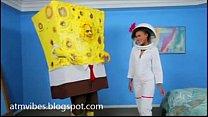 Teen giving head to sponge bob
