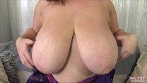 British babe Georgina Gee strips to reveal her gigantic tits and round butt then makes her nipples stiff using ice cubes Vorschaubild