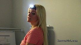 Blonde girlfriend deep throats...