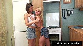 Teen cuties share dildo...