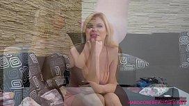 Blonde Katy Jayne shows...