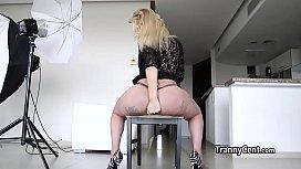 Tgirl cumming with big...