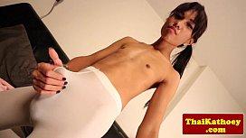 Skinny thai shemale stretches...