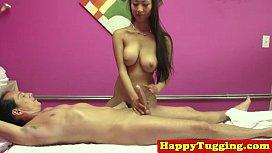 Busty handjob masseuse asian babe