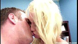 Busty blonde schoolgirl doing...