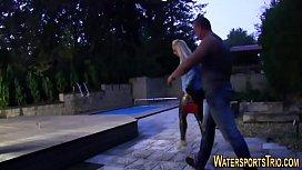 Busty slut gets peed...