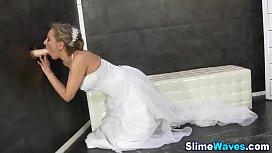 Fetish bride gets bukkake...