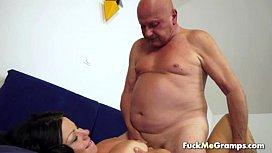 Fat old man enjoys...