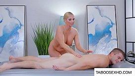 Big tits stepmom massage horny son