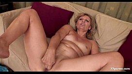 Horny granny masturbate sofa...