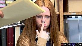 Redhead busty shoplifting teen...