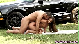 Eurobabe enjoying outdoor anal...