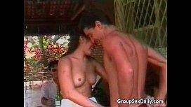 Two hot Latina sluts sucks big cock