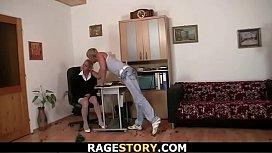 Blonde secretary rides his...