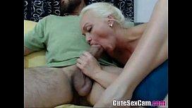 Blonde amateur sucking big...