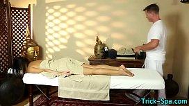 Asian teen gets massaged...
