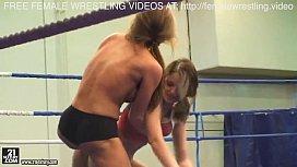 Sweet lesbian model wrestling...